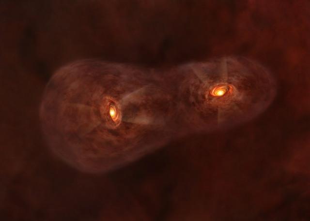 Rappresentazione artistica del sistema IRAS 04191+1523 (Immagine ALMA (ESO/NAOJ/NRAO))