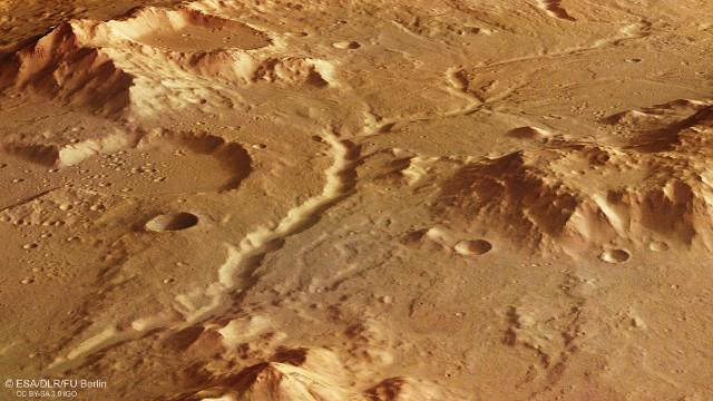 Vista in prospettiva dei Libya Montes (Immagine ESA/DLR/FU Berlin, CC BY-SA 3.0 IGO)