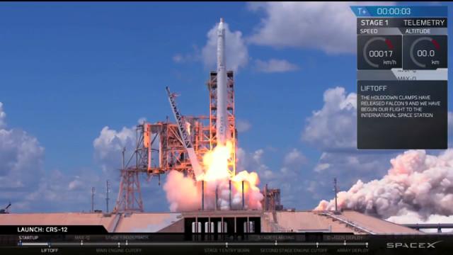 La navicella spaziale Dragon al decollo su un razzo Falcon 9 per inizizare la missione CRS-12 (Immagine cortesia SpaceX)