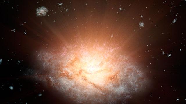 Rappresentazione artistica della galassia starburst oscurata WISE J224607.57-052635.0 (Immagine NASA/JPL-Caltech)