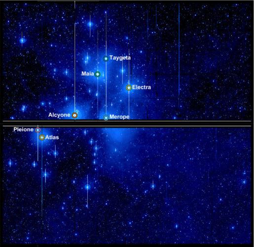 Le Pleiadi viste dal telescopio spaziale Kepler (Immagine NASA / Aarhus University / T. White)