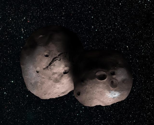 Concetto artistico di 2014 MU69 come coppia di asteroidi (Immagine NASA/JHUAPL/SwRI/Alex Parker)