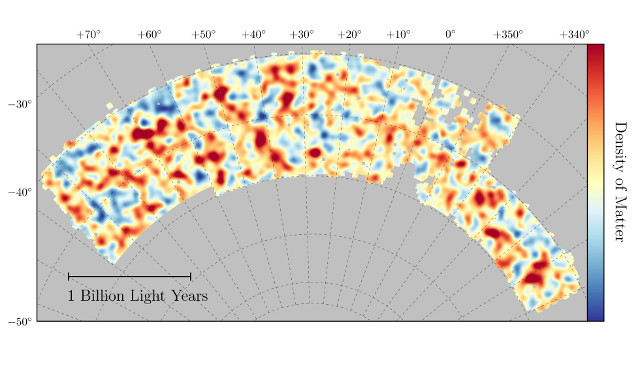 La mappa della collaborazione Dark Energy Survey (Immagine Chihway Chang/Kavli Institute for Cosmological Physics at the University of Chicago/DES Collaboration)
