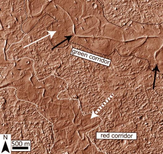 Tracce degli antichissimi canali di Aeolis Dorsa (Immagine cortesia Cardenas et al)