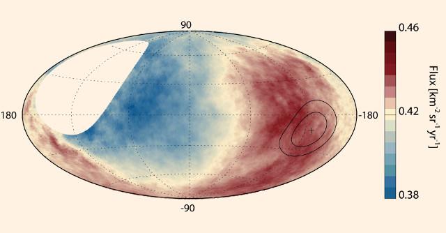 Mappa del flusso di raggi cosmici (Immagine cortesia Collaborazione Pierre Auger)