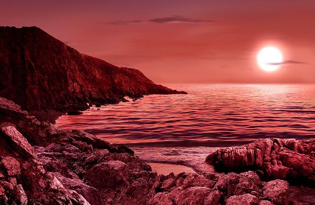 Concetto artistico della superficie di un pianeta che orbita attorno a una nana rossa (Immagine M. Weiss/CfA)