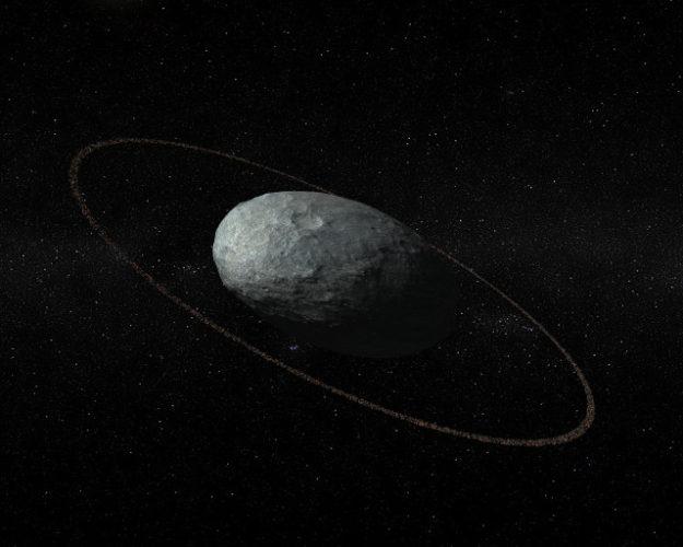 Rappresentazione artistica di Haumea col suo anello (Immagine cortesia IAA-CSIC/UHU)