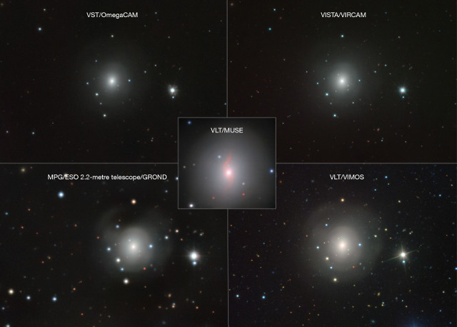La galassia NGC 4993 vista da vari telescopi dell'ESO (Immagine VLT/VIMOS. VLT/MUSE, MPG/ESO 2.2-metre telescope/GROND, VISTA/VIRCAM, VST/OmegaCAM)