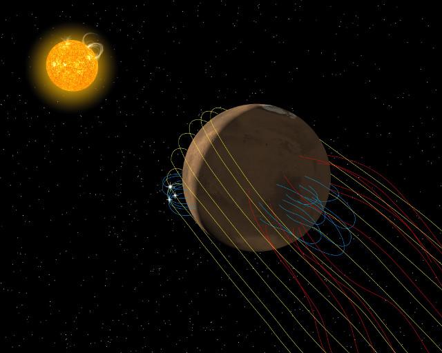 Rappresentazione artistica della coda magnetica di Marte (Immagine Anil Rao/Univ. of Colorado/MAVEN/NASA GSFC)