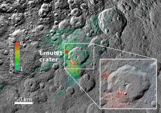 Il cratere Ernutet e i composti organici (Immagine NASA/JPL-Caltech/UCLA/ASI/INAF/MPS/DLR/IDA)