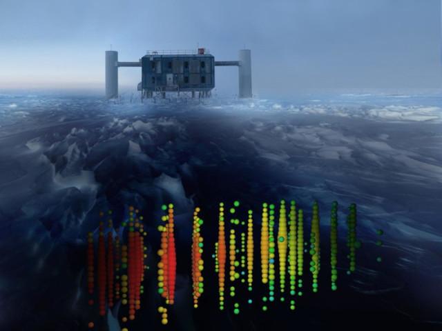 Rappresentazione dei neutrini che raggiungono IceCube (Immagine cortesia IceCube Collaboration)