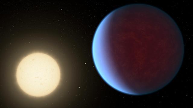 Rappresentazione artistica dell'esopianeta 55 Cancri e e della sua stella (Immagine NASA/JPL-Caltech)