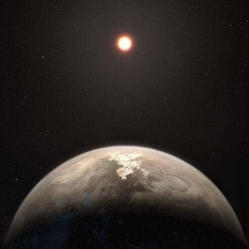 Concetto artistico dell'esopianeta Ross 128 b e della sua stella (Immagine ESO/M. Kornmesser)