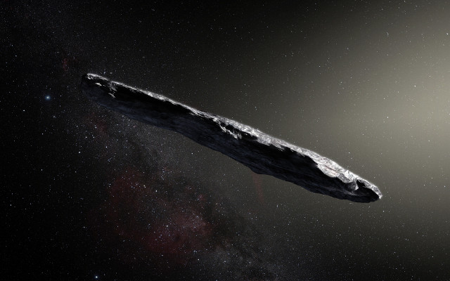 Rappresentazione artistica di 'Oumuamua (Immagine ESO/M. Kornmesser)