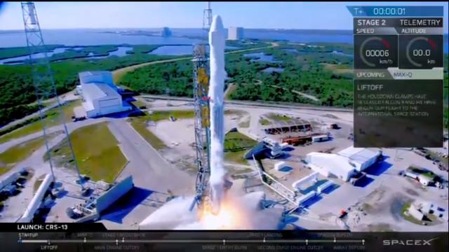 Il cargo spaziale Dragon inizia la missione CRS-13 decollando su un razzo Falcon 9 (Immagine cortesia SpaceX)