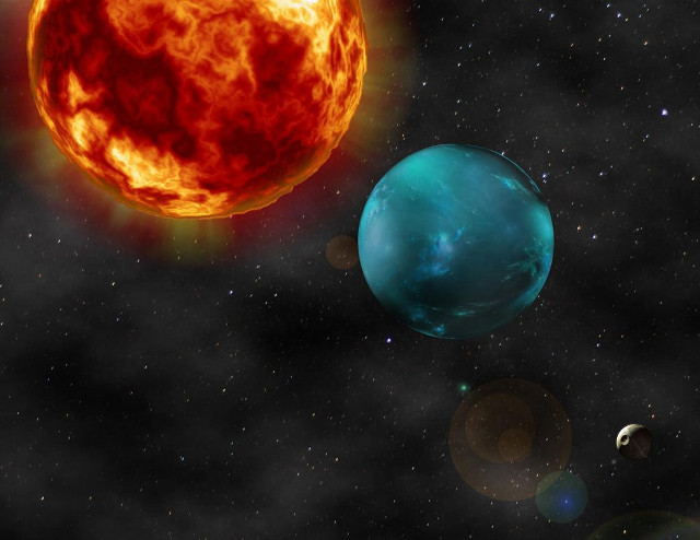 Rappresentazione artistica della stella K2-106 e dei suoi due pianeti (Immagine cortesia TNG / Vincenzo Guido, Emilio Molinari)