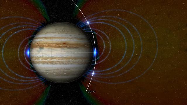 Giove con la nuova zona di radiazione (Immagine NASA/JPL-Caltech/SwRI/JHUAPL)