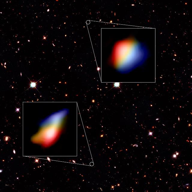 Le galassie osservate da ALMA nel cielo osservato da Hubble (Immagine Hubble (NASA/ESA), ALMA (ESO/NAOJ/NRAO), P. Oesch (University of Geneva) and R. Smit (University of Cambridge))