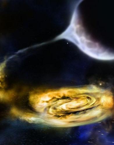 Concetto artistico di venti attorno a un buco nero che ruba materiali a una compagna (Immagine cortesia NASA/Swift/A. Simonnet, Sonoma State University)