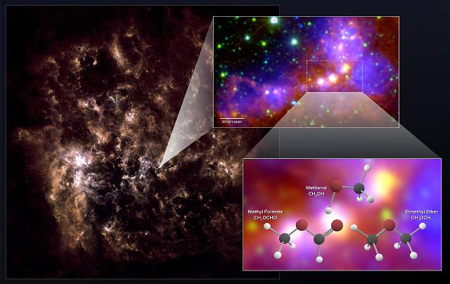 La Grande Nube di Magellano, l'area N113 e le molecole trovate (Immagine NRAO/AUI/NSF; ALMA (ESO/NAOJ/NRAO); Herschel/ESA; NASA/JPL-Caltech; NOAO)