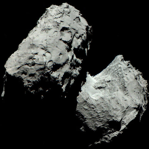 La cometa 67P/Churyumov-Gerasimenko il 6 agosto 2014 (Immagine ESA/Rosetta/MPS for OSIRIS Team MPS/UPD/LAM/IAA/SSO/INTA/UPM/DASP/IDA)