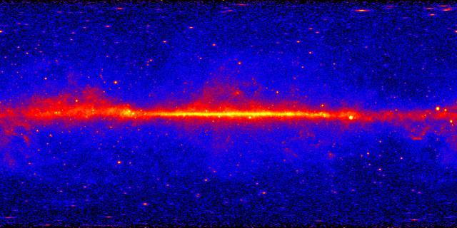 Mappa dei raggi gamma ad alta energia (Immagine NASA/DOE/Fermi LAT Collaboration)