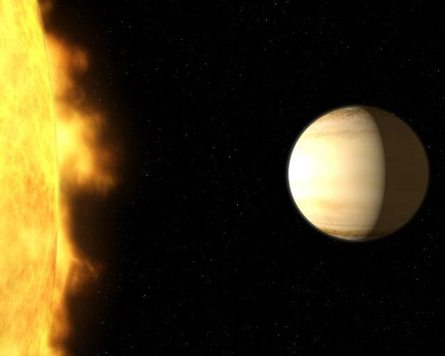 Concetto artistico di WASP-39b vicino alla sua stella (Immagine NASA, ESA, and G. Bacon (STScI))