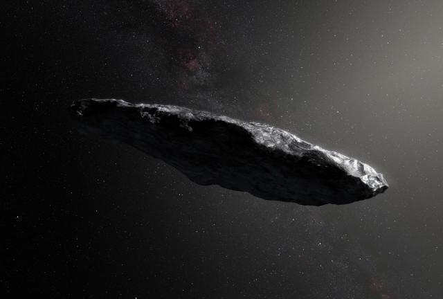 Concetto artistico dell'asteroide interstellare `Oumuamua (Immagine European Southern Observatory/M. Kornmesser)