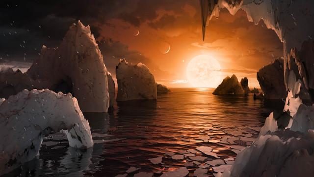 Concetto artistico del panorama sul pianeta TRAPPIST-1f (Immagine NASA/JPL-Caltech/T. Pyle (IPAC))
