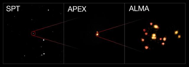 Il protoammasso SPT2349-56 (Immagine ESO/ALMA (ESO/NAOJ/NRAO)/Miller et al.)