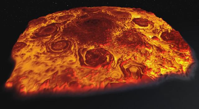 Immagine della mappa del polo nord di Giove (Immagine NASA/JPL-Caltech/SwRI/ASI/INAF/JIRAM)