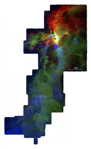 Orione A (Immagine cortesia NSF/S. Kong, J. Feddersen, H. Arce & CARMA-NRO Orion Survey team)
