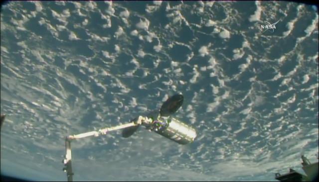 Il cargo spaziale Cygnus catturato dal braccio robotico Canadarm2 (Immagine NASA TV)