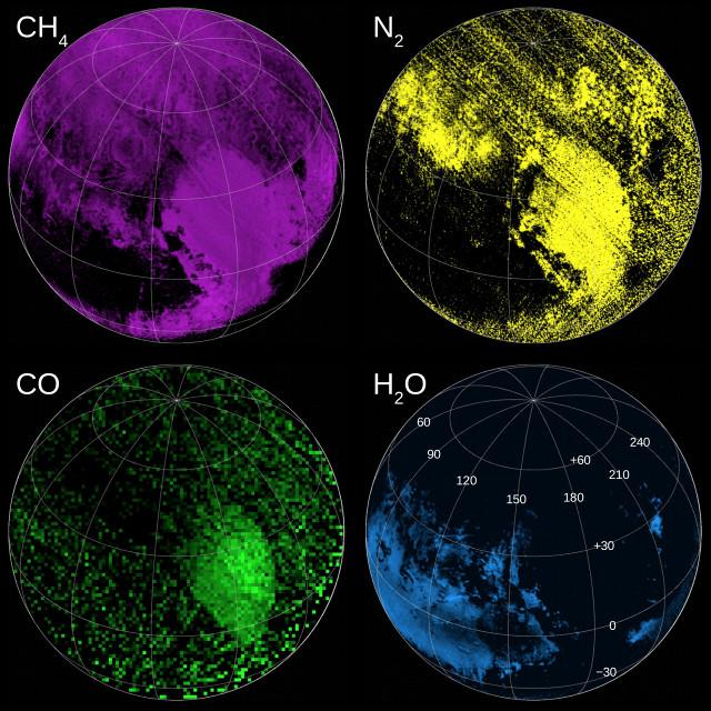 Mappe di composti su Plutone