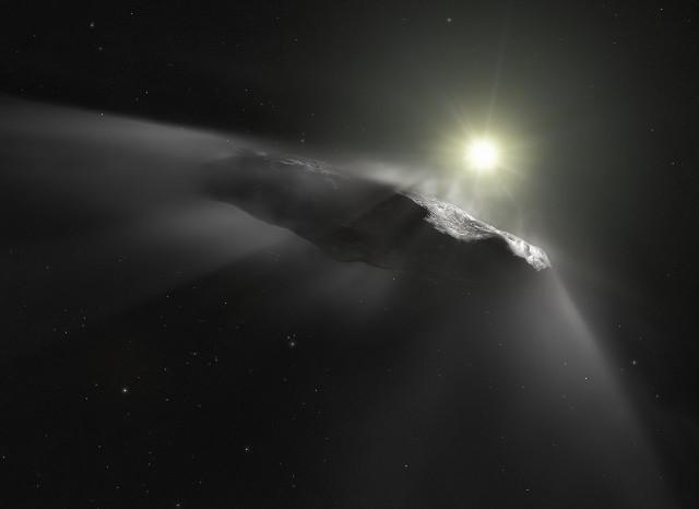Rappresentazione artistica di 'Oumuamua e delle sue emissioni (Immagine ESA/Hubble, NASA, ESO, M. Kornmesser)