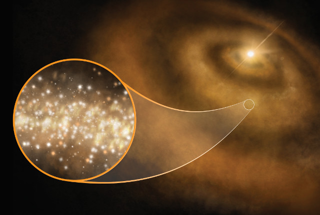 Concetto artistico di nanodiamanti in un disco protoplanetario (Immagine cortesia S. Dagnello, NRAO/AUI/NSF)