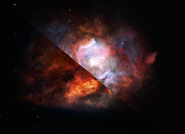 Concetto artistico di una galassia starburst polverosa (Immagine ESO/M. Kornmesser)
