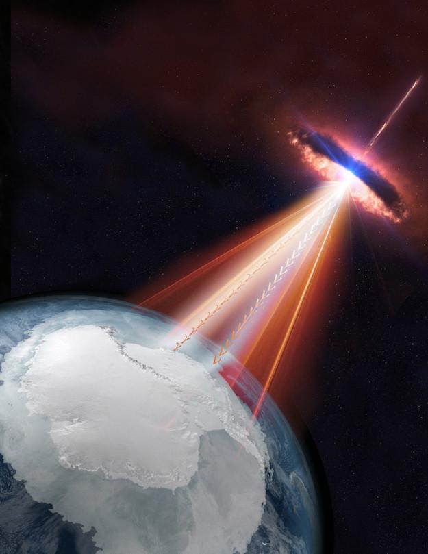 Rappresentazione artistica di un blazar che emette neutrini e raggi gamma (Immagine cortesia IceCube/NASA)