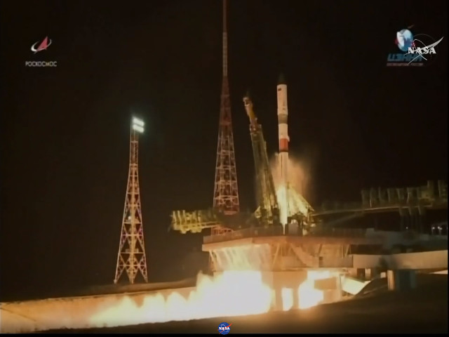 Il cargo spaziale Progress MS-9 al decollo su un razzo Soyuz 2.1a (Immagine NASA TV)