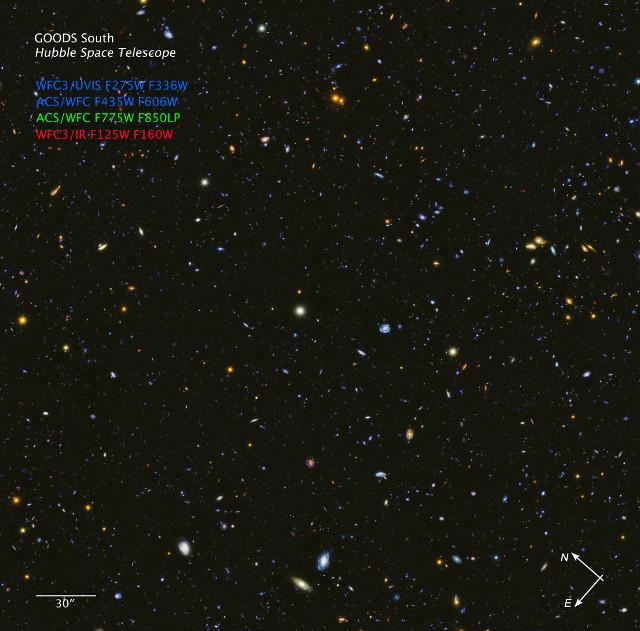 HDUV GOODS-South (Immagine NASA, ESA, P. Oesch (University of Geneva), and M. Montes (University of New South Wales))