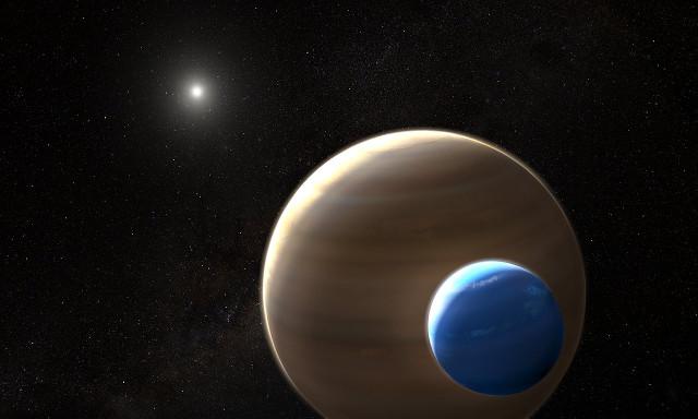Concetto artistico del pianeta Kepler-1625b con la sua luna e la sua stella sullo sfondo (Immagine NASA, ESA, and L. Hustak (STScI))