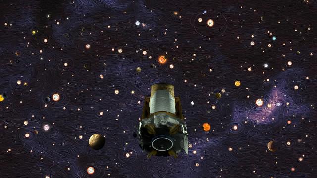 Concetto artistico del telescopio spaziale Kepler con alcuni dei sistemi osservati (Immagine NASA)