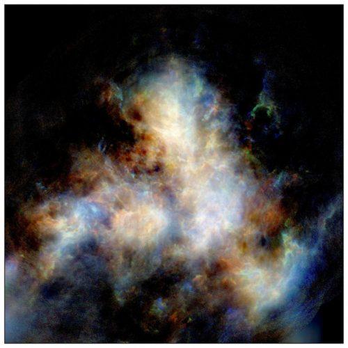 Idrogeno gassoso nella Piccola Nube di Magellano (Immagine cortesia Naomi McClure-Griffiths et al, CSIRO's ASKAP telescope)