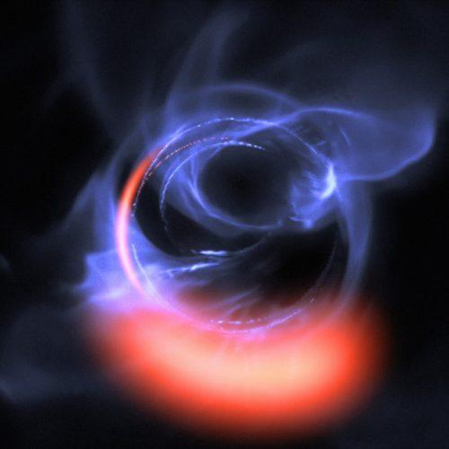 Simulazione di materiali vicini a Sagittarius A* (Immagine ESO/Gravity Consortium/L. Calçada)