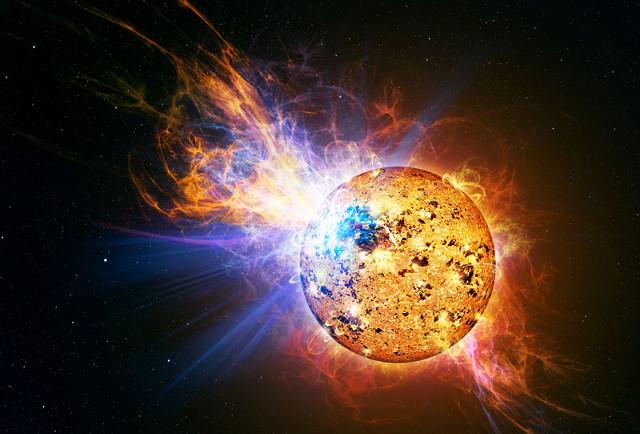 Concetto artistico di stella durante un violento brillamento (Immagine Casey Reed/NASA)