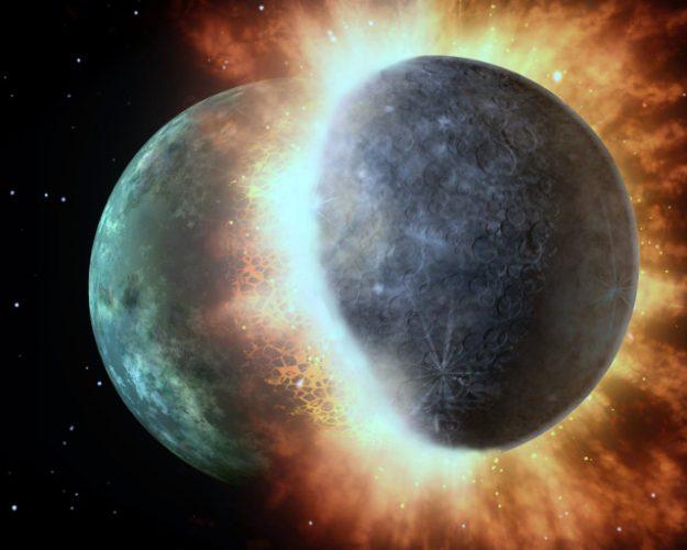 Concetto artistico di impatto tra protopianeti (Immagine Nasa/JPL-Caltech modificata)