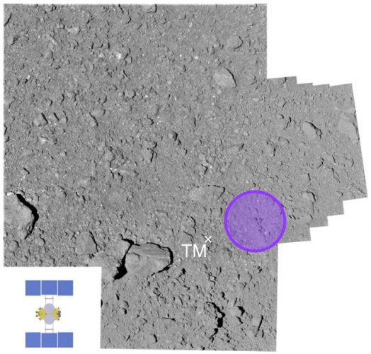L'area L08-E1 dell'asteroide Ryugu toccata da Hayabusa 2 (Immagine cortesia JAXA)