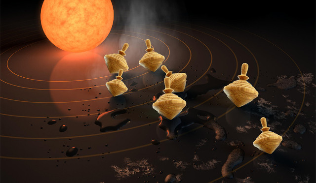 Concetto artistico di sistema stellare con pianeti come trottole (Immagine NASA/JPL-Caltech, Sarah Millholland)