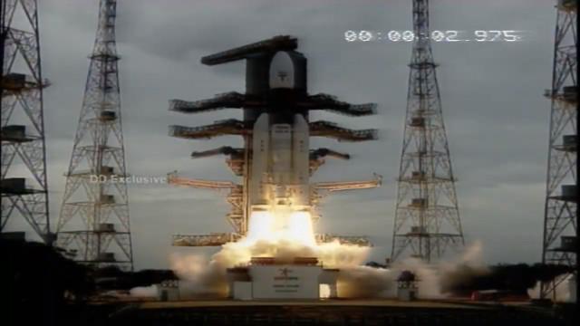 La missione Chandrayaan 2 al lancio su un razzo GSLV Mk-III (Immagine cortesia ISRO)