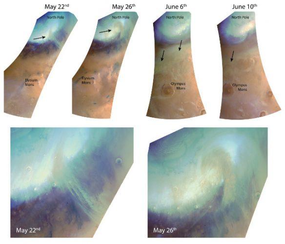 Tempeste di sabbia osservate vicino alla calotta polare settentrionale di Marte